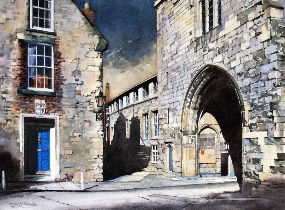The ancient medieval arched entrance to the College an area behind the Cathedral which is the home of the clergy and the Chorister School. The staircase to the Cathedral Chapter Office can just be made out in the shadows of the passage in the centre of view which also leads to the Cathedral workshops. Part of the 2014 Durham Cathedral Exhibition.