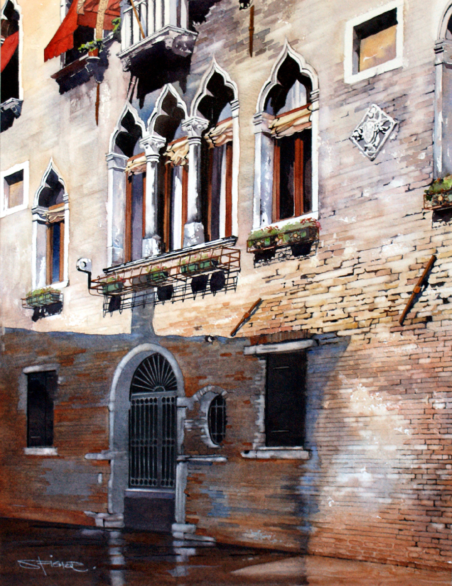This distressed facade adds to the charm of one of the many palazzios to be found on the back waters of Venice.