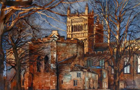 I cut my artistic teeth painting and drawing trees. This view of the West Towers offered a great opportunity to enjoy myself painting them lit by the dying winter sun.